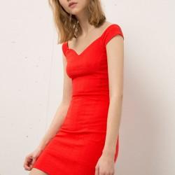 Kırmızı Bershka 2015 Elbise Modelleri