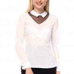 Krem Rengi Tül Detaylı 2015 Yazlık Bluz Modelleri