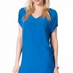 Mavi V Yaka Zara 2015 Elbise Modelleri