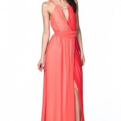 Nar Çiçeği Rengi Elbise NG Style Yeni Sezon Modelleri