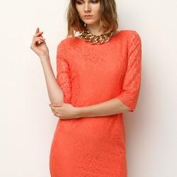 Somon Rengi Dantelli Mudo 2015 Elbise Modelleri