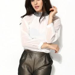 Taş Süslemeli Şifon Beyaz Yeni Sezon Bluz Modelleri