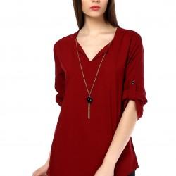 V Yaka Bordo 2015 Yazlık Bluz Modelleri