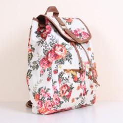 Çiçek Desenli Beyaz 2015 Bayan Sırt Çantası Modelleri
