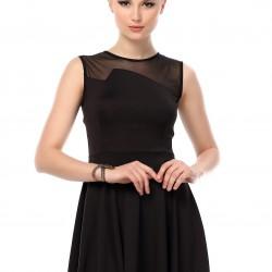 Üst Kısmı Tül Detaylı Siyah Yeni Sezon Spor Elbise Modelleri