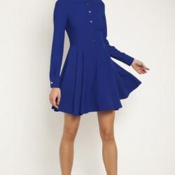Düğmeli Saks Mavisi 2015 Kloş Elbise Modelleri