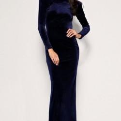 Düz Lacivert Kadife Elbise Modası