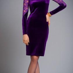 Dantel Detaylı Mor Kadife Elbise Modası