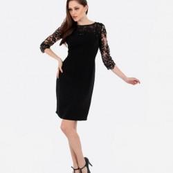 Dantel Detaylı Siyah Yetim Kol Elbise Modelleri