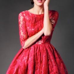 Dantelli Kırmızı 2015 Kloş Elbise Modelleri