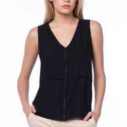 Fermuar Detaylı Siyah Dilvin Yazlık Bluz Modelleri
