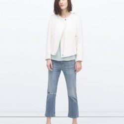Fermuarlı Beyaz Zara 2015 Ceket Modelleri