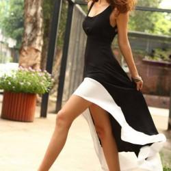 Japon Stili Siyah ve Beyaz 2015 Asimetrik Kesim Elbise Modelleri