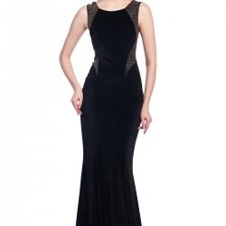 Kadife Kolsuz Siyah 2015 Gece Elbisesi Modelleri