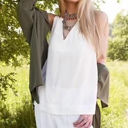 Kolsuz Beyaz Dilvin Yazlık Bluz Modelleri