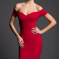 Omuz Dekolteli Fuşya İnce Gösteren Elbise Modelleri