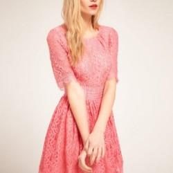 Pembe En Güzel Dantelli Elbise Modelleri
