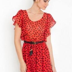 Puantiyeli Kırmızı Şifon Elbise Modelleri