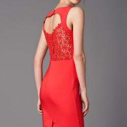 Sırtı Güpürlü Mercan 2015 Mezuniyet Elbisesi Modelleri