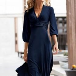 Sade Lacivert Yetim Kol Elbise Modelleri
