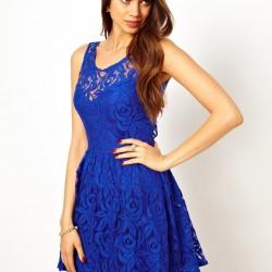 Saks Mavisi En Güzel Dantelli Elbise Modelleri