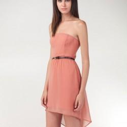 Straplez Pudra 2015 Asimetrik Kesim Elbise Modelleri