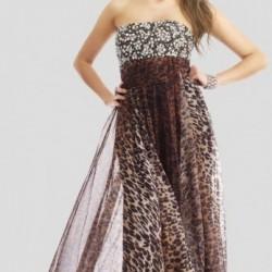Straplez Leopar Desenli Şifon Elbise Modelleri
