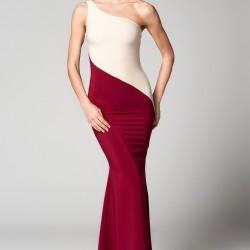 Tek Omuz Vişne ve Bej 2015 Mezuniyet Elbisesi Modelleri