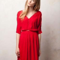 V Yaka Kırmızı Yetim Kol Elbise Modelleri
