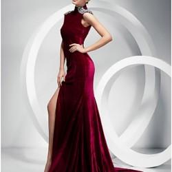 Yırtmaç Detaylı Bordo Kadife Elbise Modası