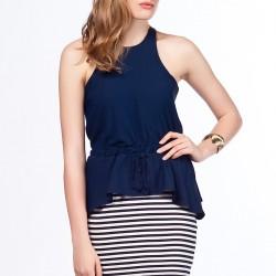 Çizgili Etekli Lacivert Dilvin Elbise Modelleri