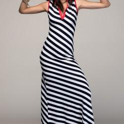 Çizgili Kolsuz Vavist Elbise Modelleri