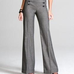 Gri Kumaş 2015 İspanyol Paça Pantolon Modelleri