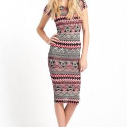 Kısa Kol Uzun Etnik Desenli Elbise Modelleri