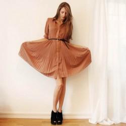 Kahve Tonlarında Yeni Pileli Elbise Modelleri