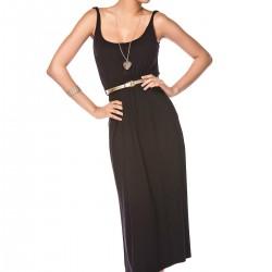 Kemer Detaylı Siyah Askılı Elbise Sateen Yaz Sezonu Modelleri