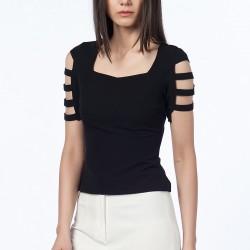 Kolu Bantlı Siyah Olgun Orkun Bluz Modelleri