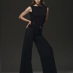 Kumaş Siyah 2015 İspanyol Paça Pantolon Modelleri