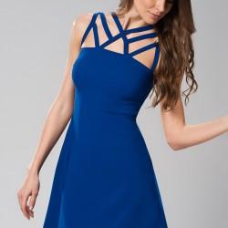 Saks Mavisi Kısa Vavist Elbise Modelleri