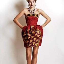 Straplez Etnik Desenli Elbise Modelleri