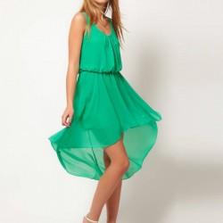Tül Detaylı Yazlık Mint Yeşili Elbise Modelleri