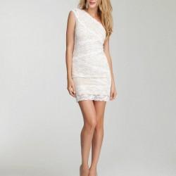 Tek Omuz 2015 Beyaz Elbise Modelleri