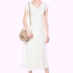 V Yaka Beyaz İpekyol Elbise Modelleri
