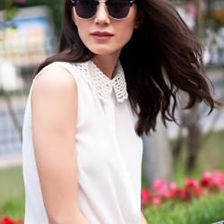 Yakası Dantelli Ekru Kolsuz Olgun Orkun Bluz Modelleri