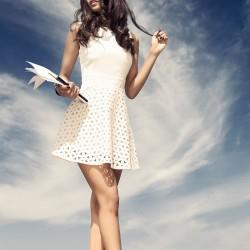 Lazer Kesim Ekru Elbise İroni 2015 Modelleri