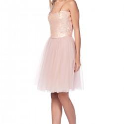 Payet Detaylı Somon Roman Elbise Modelleri