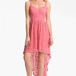 Önü kısa arkası uzun pembe elbise modelleri