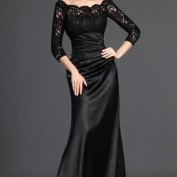 İşlemeli Orta Yaş Siyah Renkli Abiye Modelli