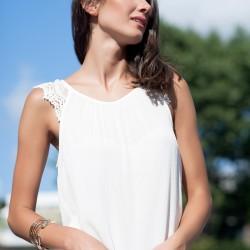 Dantelli Beyaz 2015 Kolsuz Bluz Modelleri