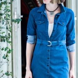 Koyu Mavi Kot Elbise 2015 Yazlık Kombinler